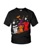 Happy halloween with masquerade cat pumpkin Halloween celebration Tshirt gift for cat lovers Tshirt