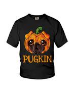 Pugkin with pug terrier in pumpkin shape Halloween Tshirt gift for pug lovers dog lovers Tshirt
