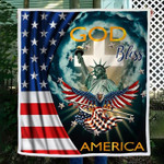 god bless america Statue of Liberty Eagle Wings of the American Flag quilt blanket best gift for patriot Quilt Blanket