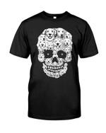 Funny black and white golden retriever skull Tshirt gift for golden retriever lovers dog lovers Tshirt