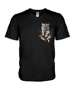 Cute lovely little tiger in pocket Tshirt gift fot tiger lovers tiger enthusiasts Tshirt