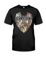 I'm an owlaholic with owl heart shape owl breeds Tshirt gift for owl lovers pet lovers Tshirt