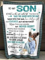 to my son while on this ride called i will always be there poster canvas best gift for son Quilt Blanket