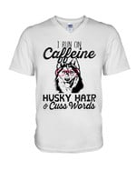 I run on caffeine husky hair and cuss words wearing red glasses Tshirt gift for husky lovers dog lovers Tshirt