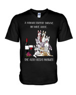 A woman cannot survive on wine alone ahe also needs huskies drinking together Tshirt gift for husky lovers dog lovers Tshirt