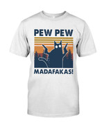 Pew pew madafakas with funny humorous black cat Tshirt gift for black cat lovers cats mom Tshirt