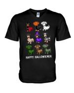 Happy halloween with masquerade dachshund Halloween celebration Tshirt gift for dachshund lovers dog lovers Tshirt