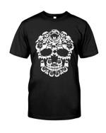Funny black and white pug terrier skull Tshirt gift for pug lovers dog lovers pug moms pug dad Tshirt