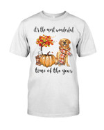 It's the most wonderful time of the year golden retriever with pumpkin at Halloween Tshirt gift for golden retriever lovers Tshirt