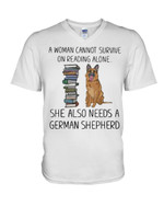 A woman cannot survive on reading alone she also needs a german shepherd Tshirt gift for german shepherd lovers dog lovers Tshirt