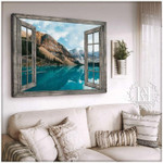 The window overlooks the majestic mountains lakes and rivers poster canvas best gift for natural lovers Poster