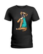 Cute lovely boxer I love mom tattoo Tshirt gift for loved mom boxer lovers boxer moms dog lovers Tshirt