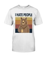 I hate people funny bear drinking coffee Tshirt gift for bear lovers bear enthusiasts Tshirt