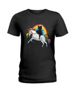 Funny black cat on beautiful white unicorn and colorful rainbow Tshirt gift for black cat lovers unicorn lovers Tshirt