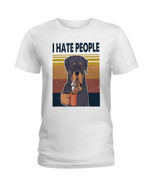 I hate people funny rottweiler drinking coffee Tshirt gift for rottweiler lovers dog lovers Tshirt