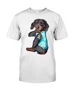 Balck dachshund I love dad tattoo Tshirt gift for loved dad dachshund lovers dog lovers Tshirt