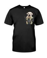Cute lovely little white labrador in pocket Tshirt gift for labrador lovers dog lovers Tshirt