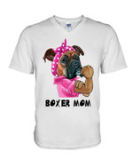 Strong boxer mom funny boxer wearing pink clothes Tshirt gift for boxer lovers dog lovers boxer mom Tshirt