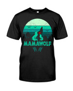 Mama wolf love wolf mom and little wolf in ocean Tshirt gift for loved mom wolf lovers wolf enthusiasts Tshirt
