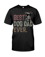 Best dog dad ever with funny pitbull wearing black glasses Tshirt gift for pitbull lovers dog lovers Tshirt