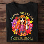 Hippie grandma young at heart slightly older in other places t shirt best gift for grandma Tshirt