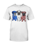American flag pugs flag funny pug terrier independence Tshirt gift for pug lovers dog lovers pug dad pug mom Tshirt