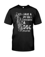 Save a pitbull wuthanize a dog fighter funny half pitbull face Tshirt gift for pitbull lovers dog lovers Tshirt