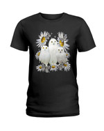 Cute white owls and beautiful white daisy flowers Tshirt gift for owl lovers owl enthusiasts Tshirt