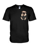 Cute lovely little pug puppy in pocket funny pug Tshirt gift for pug lovers dog lovers pug dad Tshirt