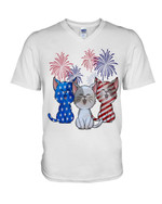 American flag cat flag beautiful firework lovely little cat independence Tshirt gift for cat lovers cat dad cat mom Tshirt