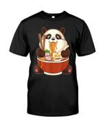 Funny cute panda eating big bowl of ramen noodle Tshirt gift for panda lovers panda enthusiasts Tshirt