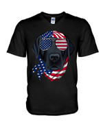 American vibes labrador wearing glasses funny labrador independence Tshirt gift for labrador lovers dog lovers Tshirt