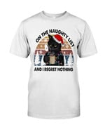 On the naughty list and I regret nothing with cute black cat wearing red hat at Christmas Tshirt gift for cat lovers Tshirt
