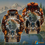 The brave wolf is decorated to show the national spirit hoodie best gift for wolf lovers 3D Hoodie