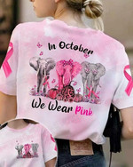 in october we wear pink elephants are marching ribbon pumpkin t shirt bets gift for elephant lovers 3D Tshirt