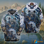 Bears gather together on snow covered mountains hoodie best gift for bear lovers 3D Hoodie
