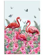 Summer Flamingo In Hibicus Garden Butterflies Vertical Poster Gift For Hibicus Lovers Flamingo Lovers Poster