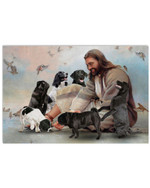 Jesus surrounded by black dog and birds horizontal design poster canvas gift for black dog and jesus lovers Poster