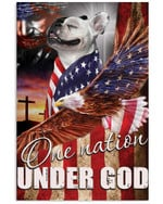 French bulldog one nation under God with US flag ealge on independence day poster canvas gift for bulldog lovers jesus prayers Poster