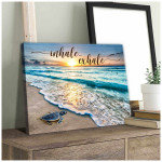 Inhale exhale beautiful beach view at sunrise with little turtle poster canvas gift for yogist yoga teachers Poster