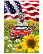 Cute schnauzer drive a car in sunflower field proud with US flag on independence day poster canvas gift for schnauzer lovers dog lovers Poster