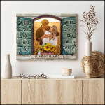 Where you go I will go personalized sunflowers wedding anniversary poster canvas gift for married couple with custom names photo & date Poster