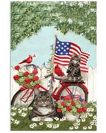 Maine coon on red bicycle with cardinals in flower garden US flag on independence day poster canvas gift for maine coon lovers Poster