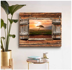 Barn Wood Window Alone tree on meadow at sunset poster canvas best gift for natural lovers Poster