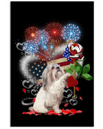 Cute shih tzu happy American flag heart with firework on independence day poster canvas gift for shih tzu lovers dog lovers Poster