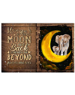 I love you to the moon and back beyond forever and ever with cute elephant wood poster canvas gift for couple Poster