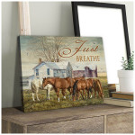 Just Breathe horse farmhouse vintage retro poster canvas best gift for horse lovers Poster