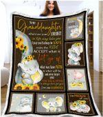 Letter from grandmother wherever your journey cute little elephant sunflowers poster canvas gift for loved granddaughter Quilt Blanket
