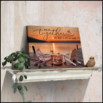 And so together we built a life we loved relaxing in lake at sunset & cardinals holiday poster canvas gift for couple Poster