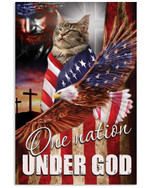 Maine coon cat one nation under God with US flag eagle on independence day poster canvas gift for maine coon cat lovers jesus prayers Poster